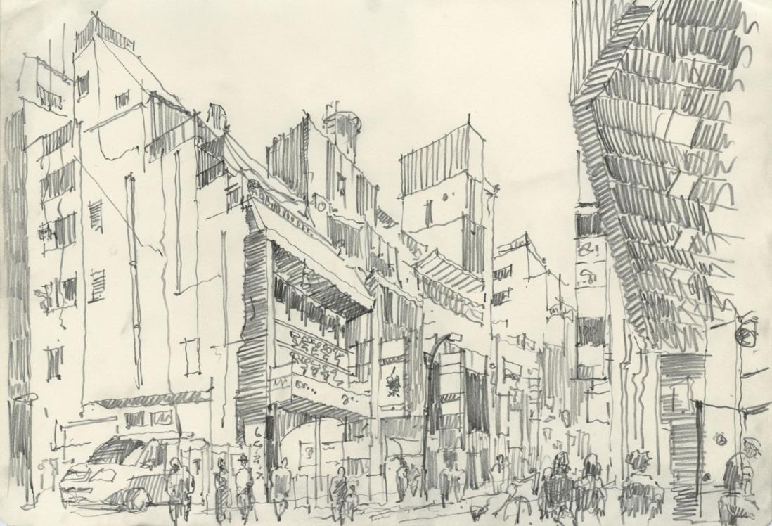 Токио. 2013. Бумага, карандаш. 32 x 40,9 см